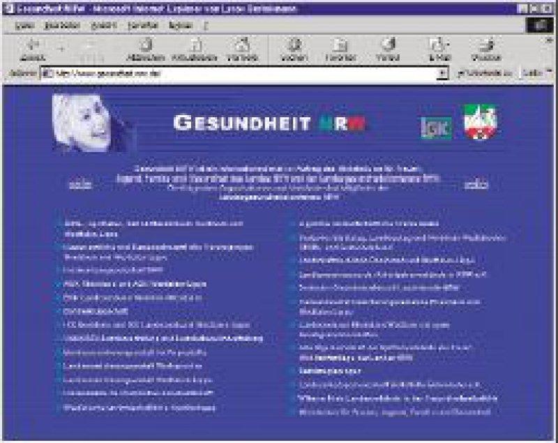 Homepage des Bürger- und Patienteninformationssystems www.gesundheit.nrw.de