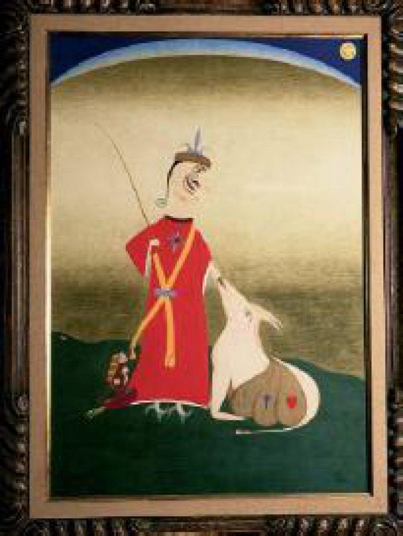 """""""Der komische moralische Eseltreiber"""", Farbstifte auf Papier, 95 cm x 66 cm, datiert 1959 Foto: Eberhard Hahne"""