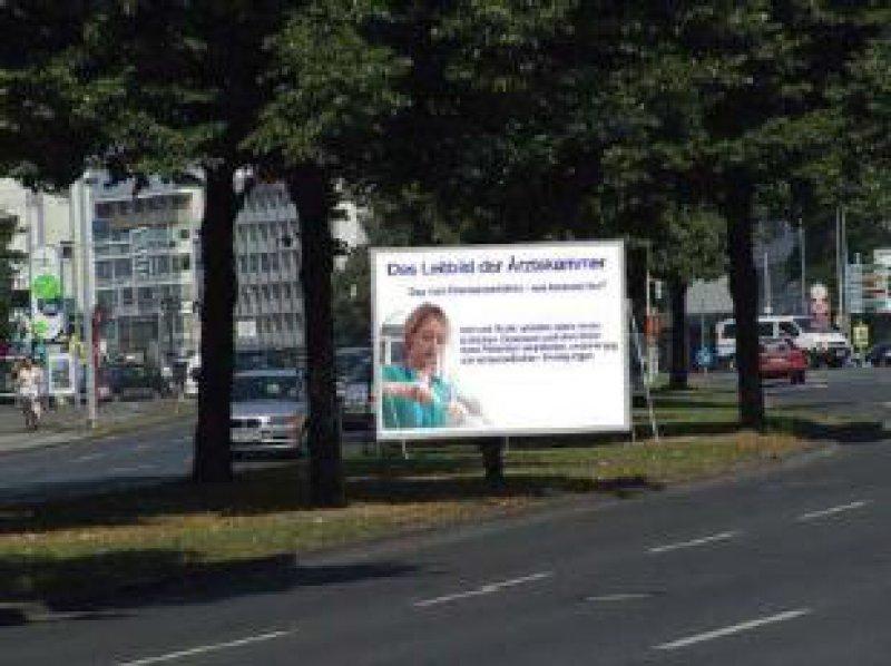 Noch ist dies eine Vision: Informationstafeln an Hauptstraßen vermitteln der Öffentlichkeit das Leitbild der Ärztekammer. Foto: A. Pagel