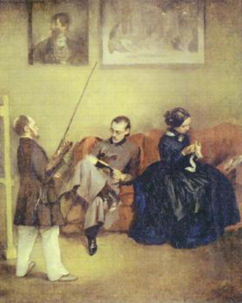 Adolph Menzel: Selbstbildnis mit Bruder und Schwester, um 1848, Privatbesitz. Abbildung: Katalog