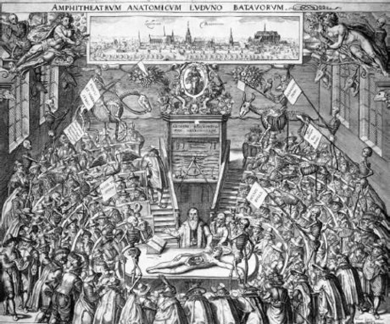 Anatomie-Vorlesung in Leiden zu Beginn des 17. Jahrhunderts; Kupferstich nach einer Zeichnung von Johannes Woudanus im Amsterdamer Rijksmuseum