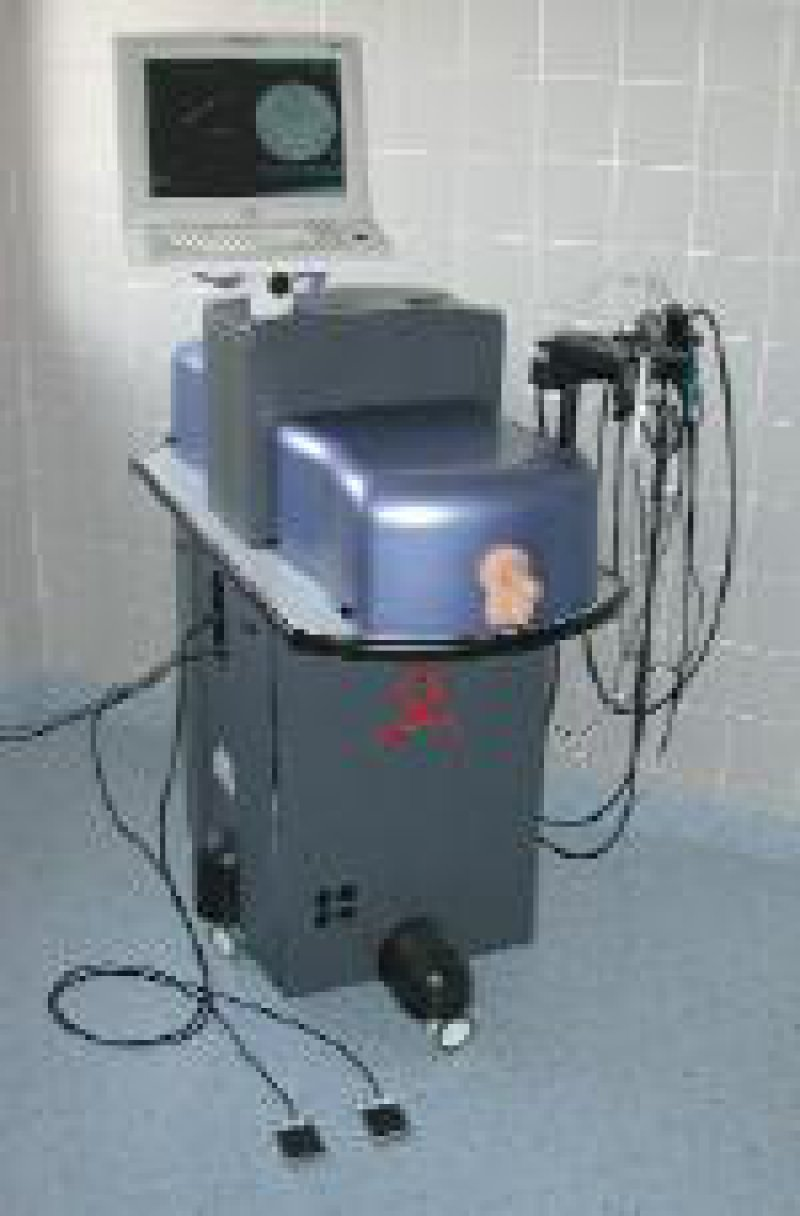 Darstellung des Simulators mit Modell, Monitor und Computer Foto: Universität Mannheim