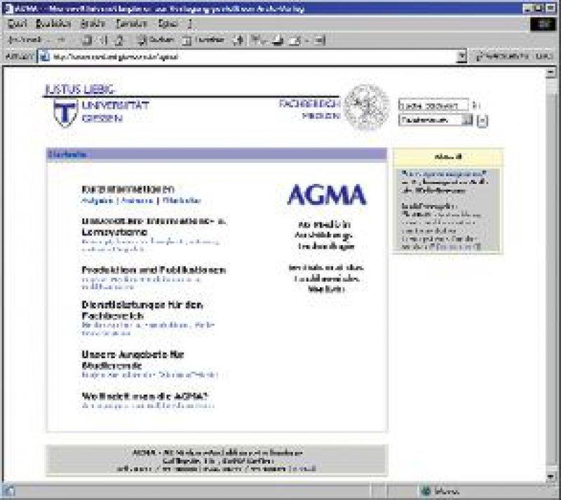 Website der AG Medizin-Ausbildungs-Technologie (AGMA) der Universität Gießen