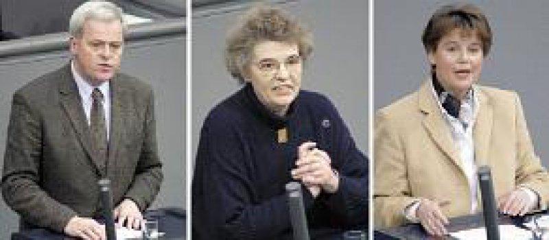 Klares Nein, Kompromiss und klares Ja: Dr. Hermann Kues, Margot von Renesse und Ulrike Flach stellen die drei Anträge vor. Fotos: dpa