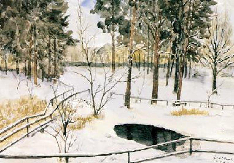 Rudolf Heltzel: Brixplatz im Winter, 1986. Foto: privat