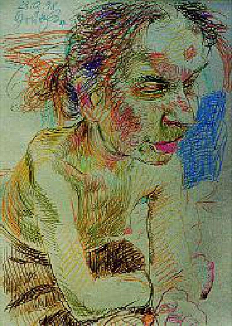 Farbstiftzeichnung ohne Titel, 28. 12. 1998, 64 cm x 45 cm