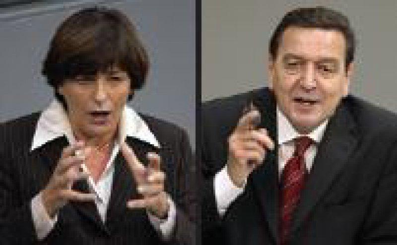 Gesundheitsministerin Schmidt, Kanzler Schröder: Grausamkeiten nach der Wahl Fotos: dpa