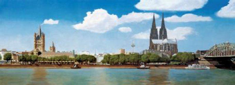 Panorama Köln, Öl auf Leinwand, 3,60 m x 1,20 m, von dem Kölner Maler Jürgen Sieger, der dieses Bild, als Rechtshänder nach einem rechtsseitigen Schlaganfall, mit der linken Hand gemalt hat. Foto: Jürgen Sieger