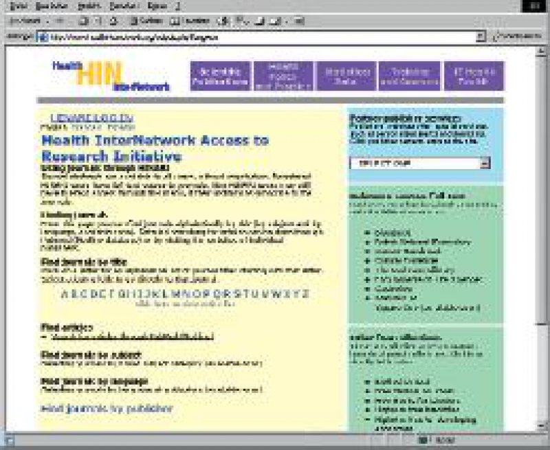 Website des Health InterNetwork (www.healthinternet work.org)