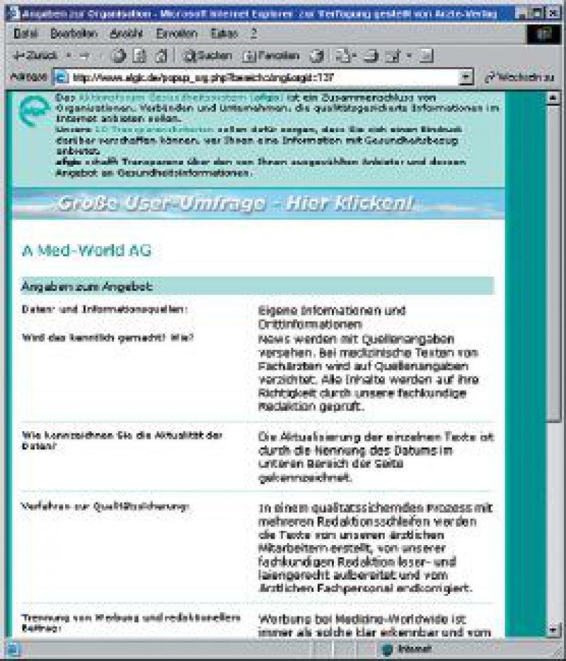Der Klick auf das afgis-Logo auf der Website www.medicineworldwide. de liefert Informationen zum Anbieter und zum Inhalt des Angebots.
