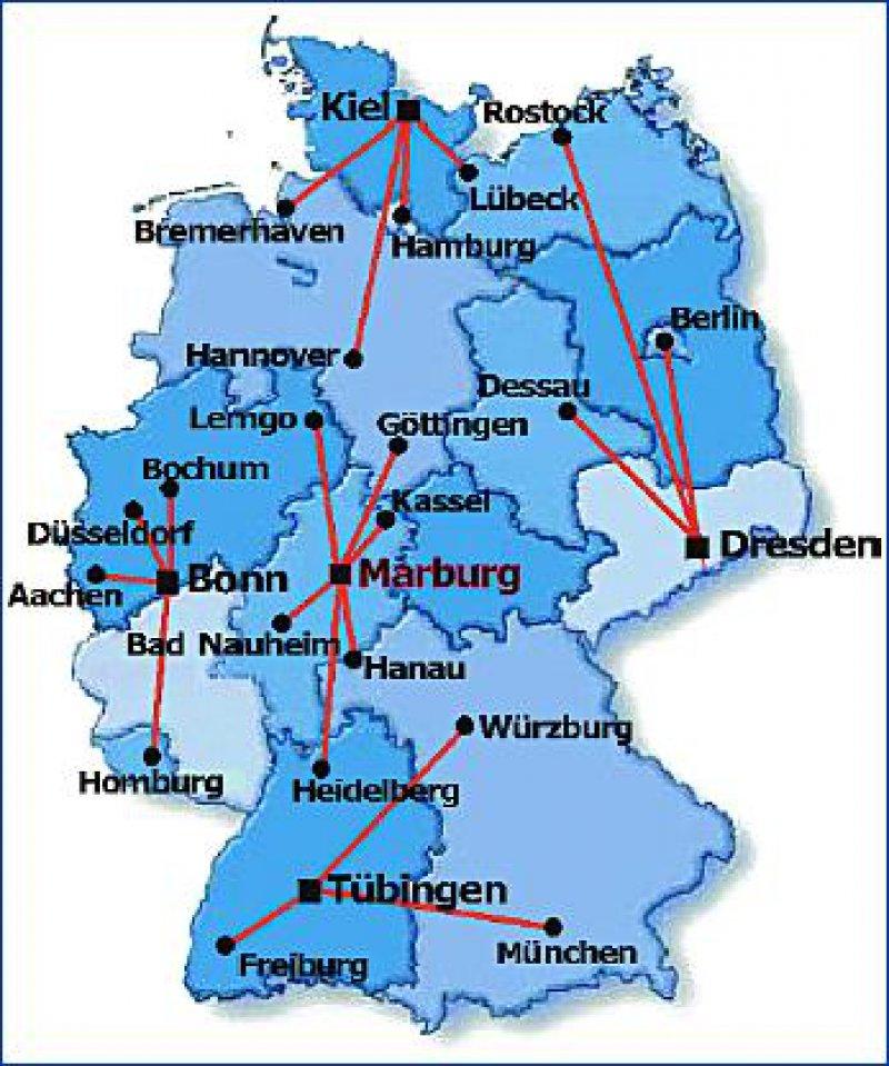 Abbildung 1: Koordinierungszentren und Regionalzentren des Kompetenznetzes Parkinson