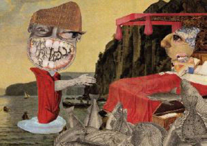 Abbildung 1: Hermán Höxter, Comtessas Traum, Collage, 17 × 23 cm, 2003 Entnommen aus: Detlef B. Linke, Kunst und Gehirn. Die Eroberung des Unsichtbaren. Rowohlt Verlag, Reinbek bei Hamburg, 2001