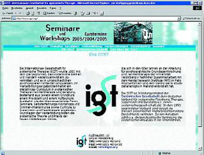 Die Website der Internationalen Gesellschaft für systemische Therapie (www.igst.org)