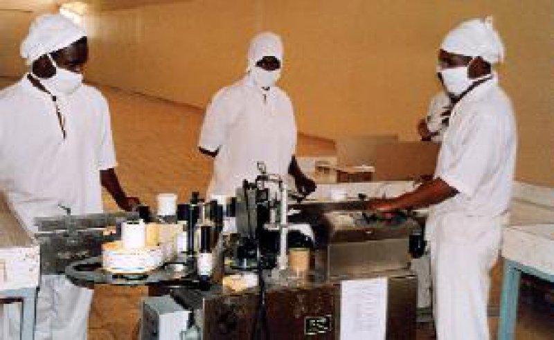 Mitarbeiter einer tansanischen Produktionsfirma bei der Herstellung und Qualitätssicherung von Medikamenten Foto: action medeor