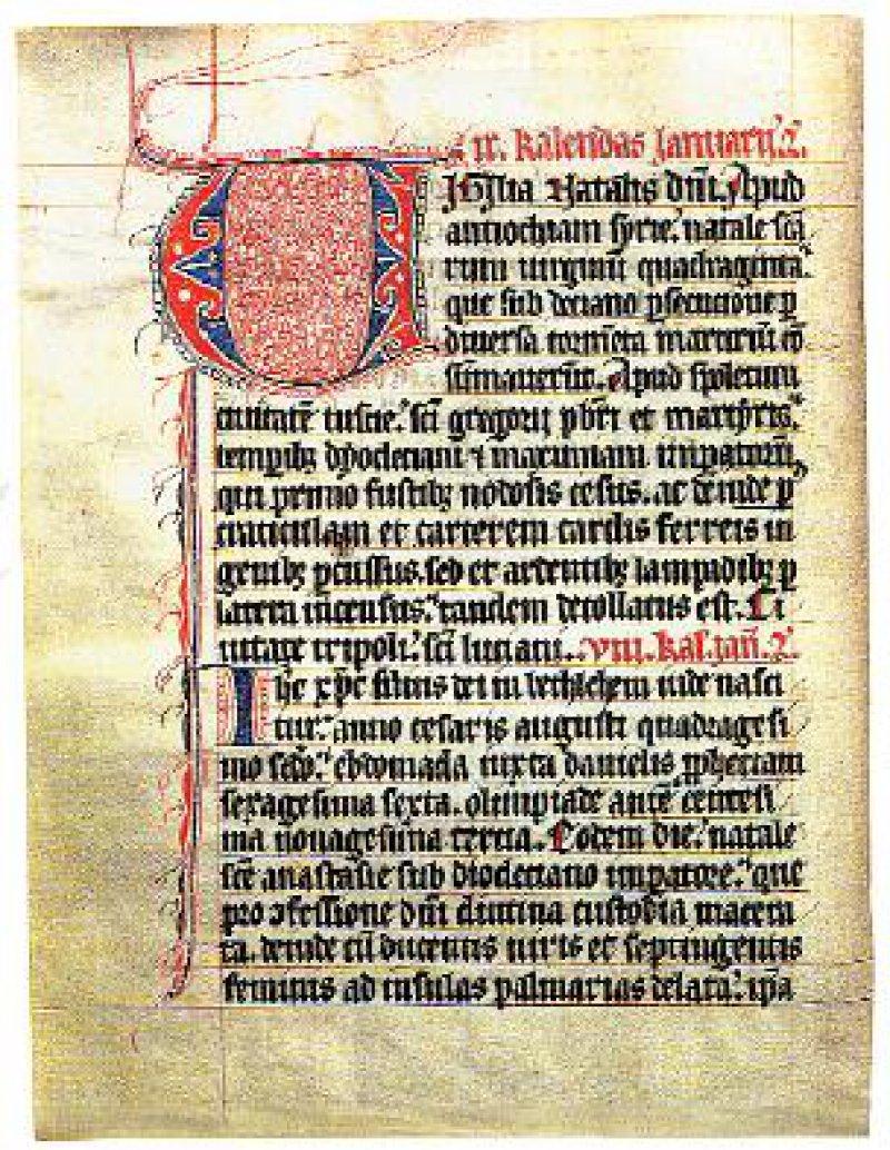 Martyrologium aus dem St.-Agnes-Kloster Mainz. Die in gepflegter Textura geschriebene Handschrift lässt auf ein qualitativ hoch stehendes Skriptorium schließen und entstand in der 1. Hälfte des 14. Jahrhunderts.