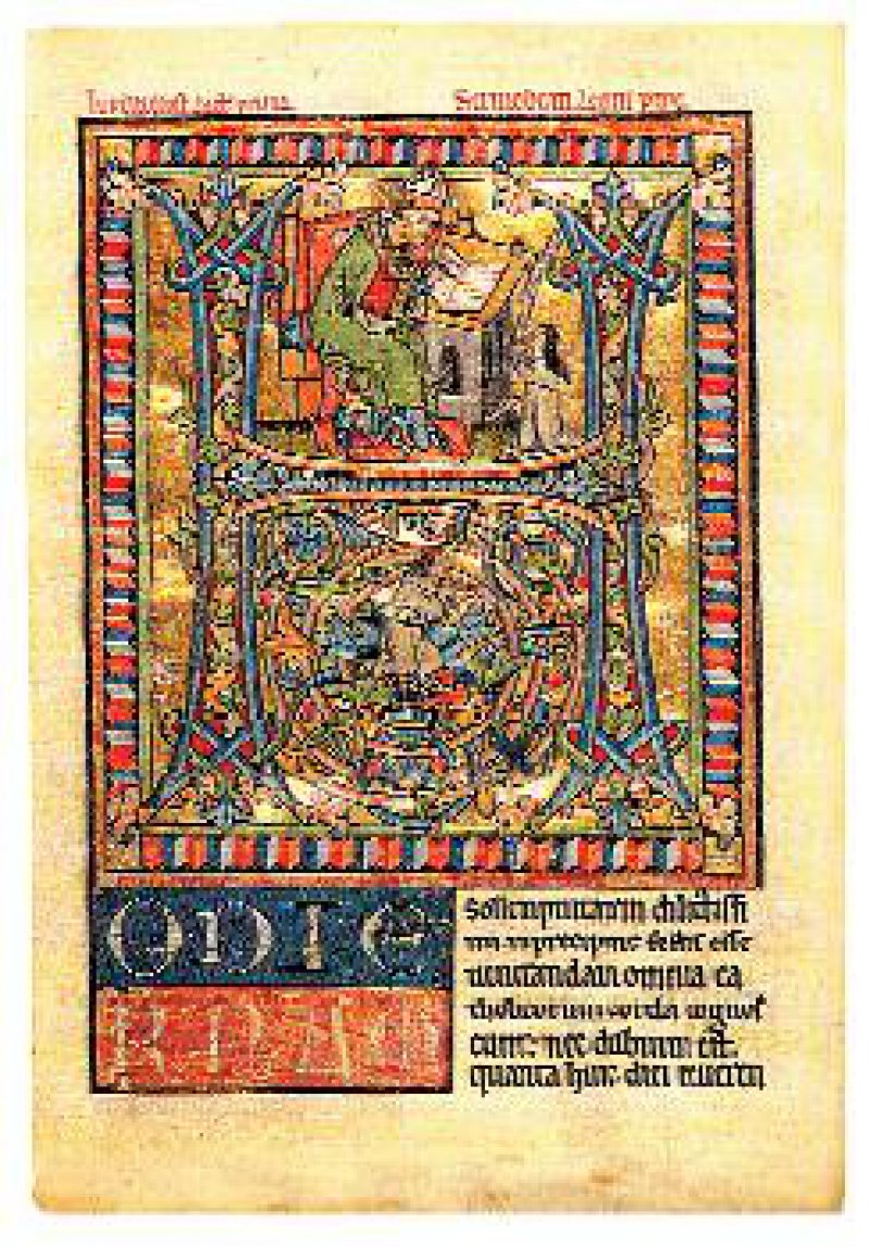 Lectionarium officii, mittelrheinisch, um 1250–1260 entstanden. Eine der vier erhaltenen Bildsciten der Hamburger Handschrift: Im oberen Teil eine vor Papst Leo kniende Zisterzienserin, im unteren Teil des zweigeteilten Buchstabens ein betender Mönch, in dem man den Beichtvater der Nonnen vermutet.