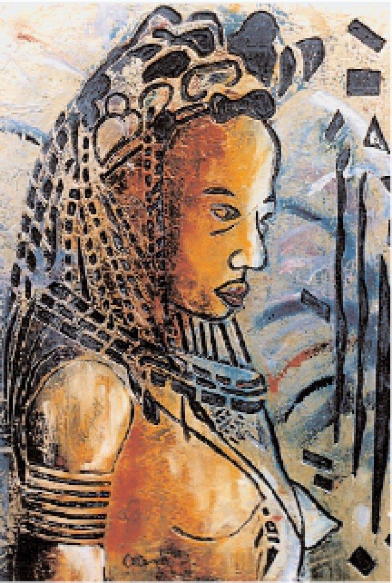 """""""Ohne Titel"""": Das Bild der nigerianischen Künstlerin Dele Campbell war 2001 im Rahmen der Wanderausstellung """"Weibliche Genitalverstümmelung"""" in Deutschland zu sehen. Abb.: Terre des Femmes"""