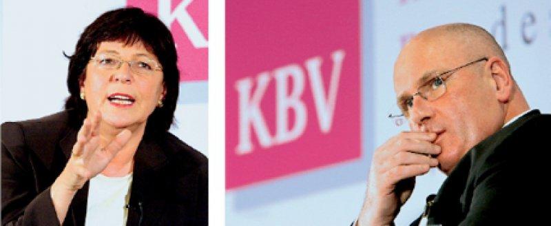 Das Streitgespräch zwischen Bundesgesundheitsministerin Ulla Schmidt und KBV-Chef Andreas Köhler verdeutlichte eines ganz klar: Das KV-System wird nicht unverändert aus der anstehenden Gesundheitsreform hervorgehen. Fotos: Georg J. Lopata