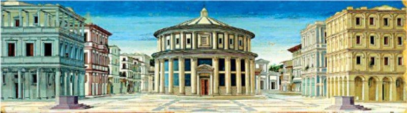 Oben: Piero della Francesca: La città ideale. Neuere Forschungen schreiben das Bild allerdings Alberti zu. Foto: Palazzo Strozzi, Florenz