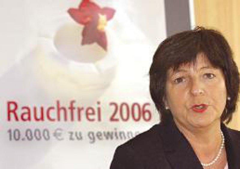 Bundesgesundheitsministerin Ulla Schmidt istSchirmherrin der Nichtraucher-Kampagne. Foto: dpa