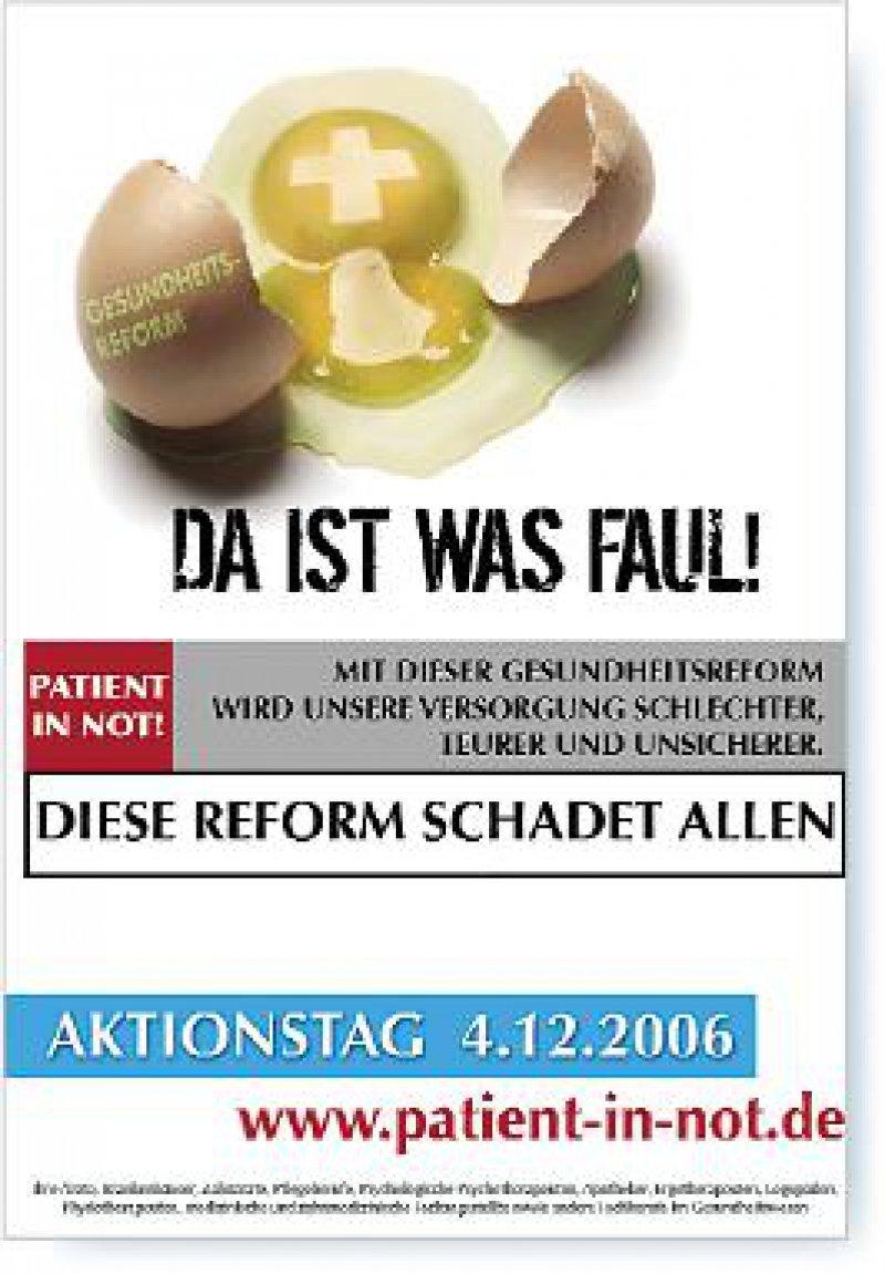 Da ist was faul! Mit diesem Plakat warnen die Initiatoren des Aktionstages vor der geplanten Gesundheitsreform.