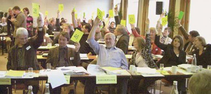Abstimmung: Die Delegierten forderten den Vorstand dazu auf, sich weiterhin für die sozialrechtliche Zulassung der Gesprächstherapie einzusetzen. Fotos: Jörg Hermann