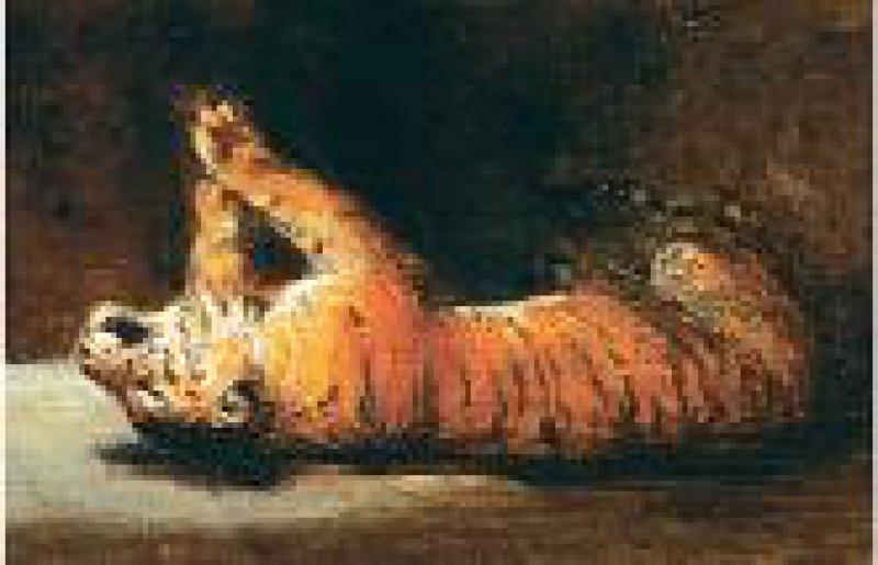 Eugène Delacroix, Spielender Tiger, um 1830, Öl auf Leinwand, 25,3×39,2 cm