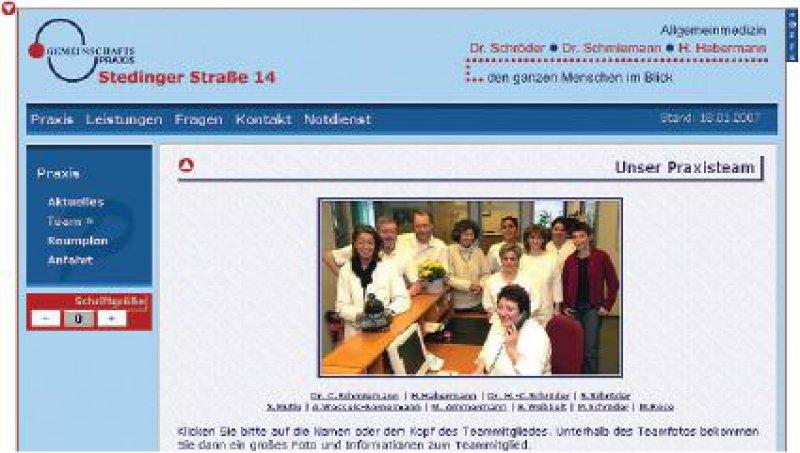 Ein weiteres Beispiel für eine gelungene Praxis-Homepage ist die der allgemeinmedizinischen Gemeinschaftspraxis von Dr. med. Hans-Christian Schröder, Dr. med. Claudia Schmiemann und Henning Habermann in Delmenhorst (www.gpss14.de).