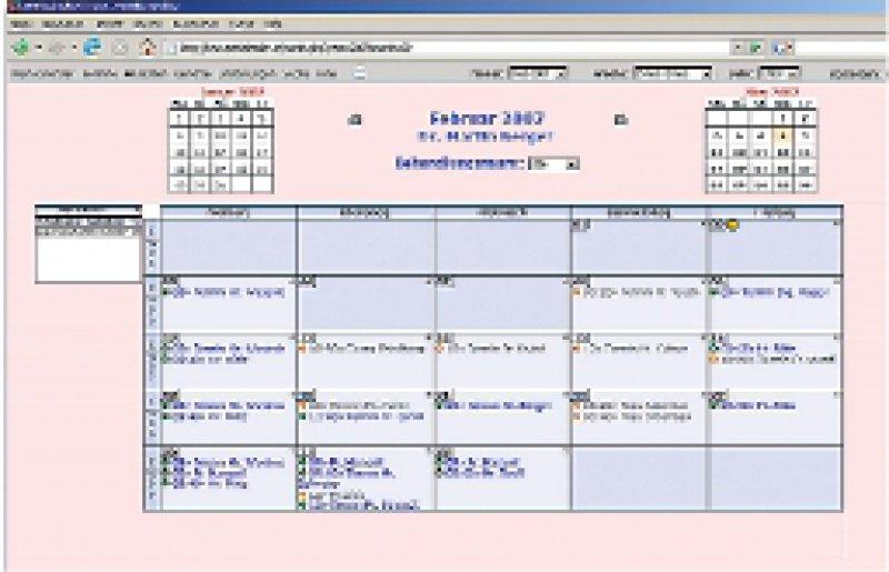 Die Monatsübersicht im Arztkalender