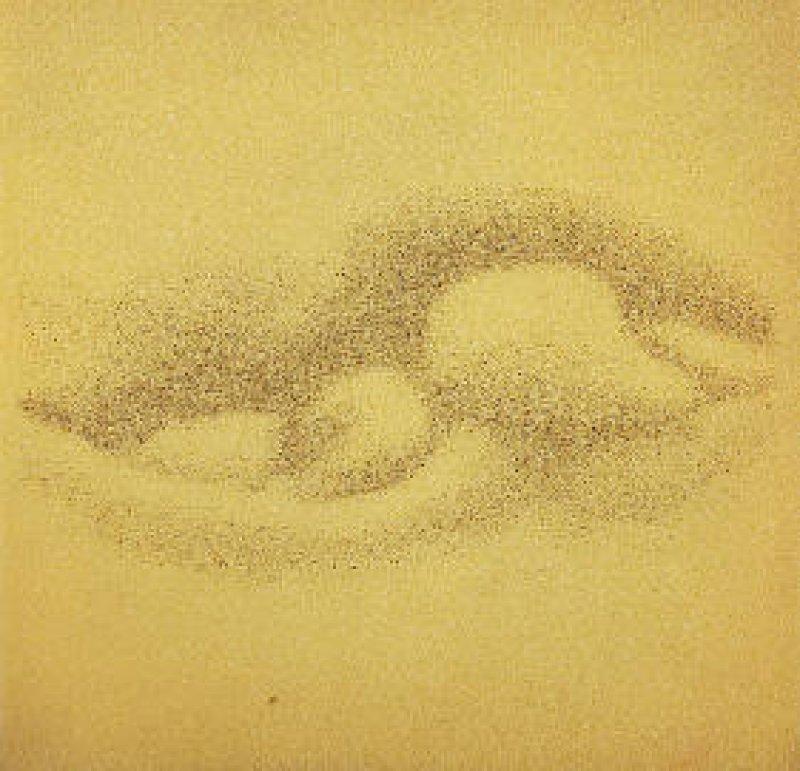 """""""Ohne Titel"""", Siebdruck in Schwarz auf Schaumstoff, 35,5 × 35,5 × 1 cm, rückseitig signiert und 1965 datiert. Foto: Eberhard Hahne"""