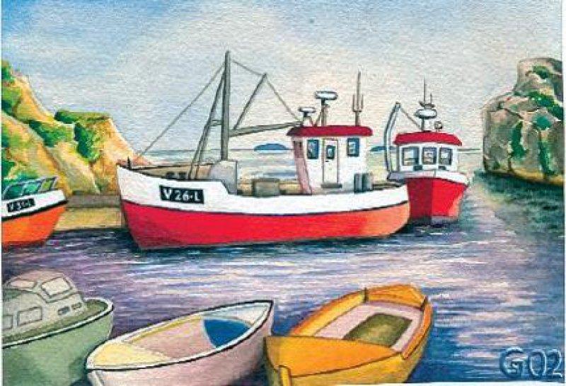Der Hafen von Ula, einem Fischerdorf 120 Kilometer südlich der Hauptstadt Oslo. Aquarelle: Gunnar Riemer