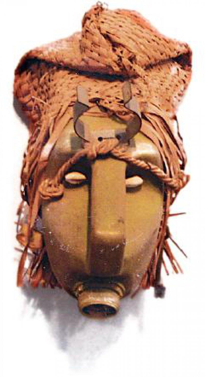 "Die Maske ""Dogone"" von Romuald Hazoumé, 1996"
