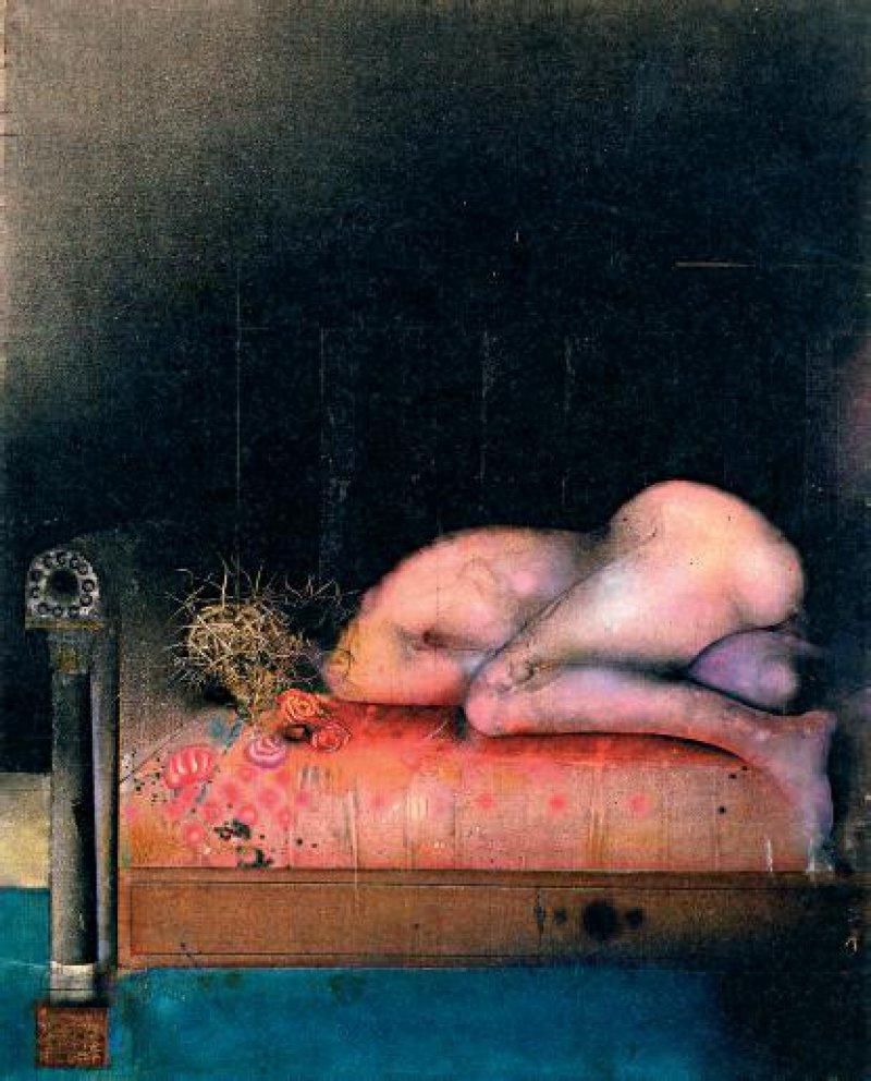 Paul Wunderlich: Akt auf rotem Sofa, 1965, Öl auf Leinwand 162130 cm, Stiftungssammlung, Stifter E. und H. Roemer
