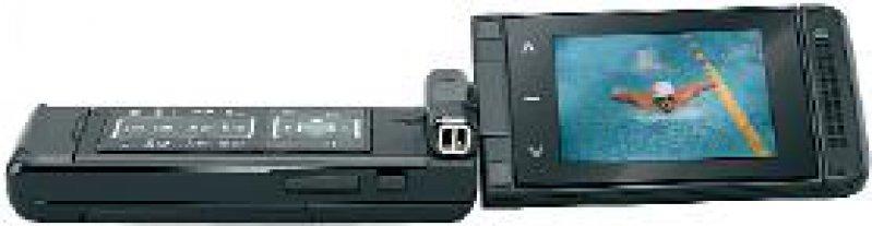 """Das DVB-H-Handy der Firma Sagem (www.sagem.com) """"myMobileTV"""": Das Gerät mit schwenkbarem Display bietet TV-Empfang und Zugriff auf Multimedia-Features."""