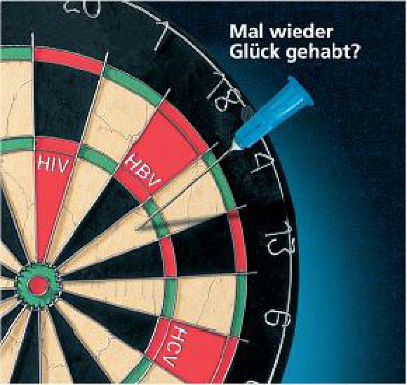 """Gefährliches Glücksspiel: Mit diesem Poster will die Initiative """"Safety First"""" zum Schutz vor Nadelstichverletzungen animieren."""