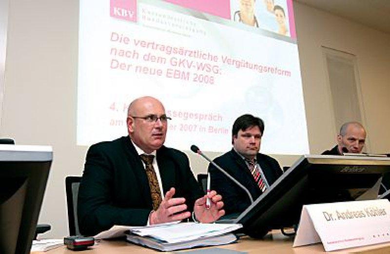 Nach oben soll es mit den Honoraren gehen, signalisiert KBV-Vorstand Dr. med. Andreas Köhler. Doch das geht erst von 2009 an. Foto: Georg J. Lopata