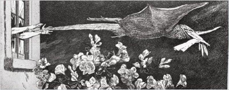 """""""Entführung"""" (1881), Opus VI, Blatt 9 (Singer 121), Radierung und Aquatinta, 11,9 × 26,9 cm"""