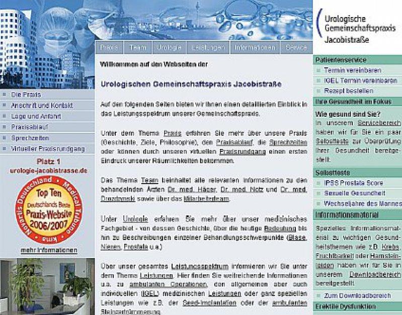 """Ein ausgezeichnetes Beispiel für eine gelungene Webpräsenz, der Gewinner des Wettbewerbs """"Beste Website 2006/7"""": www.urologie-jacobistrasse.de"""