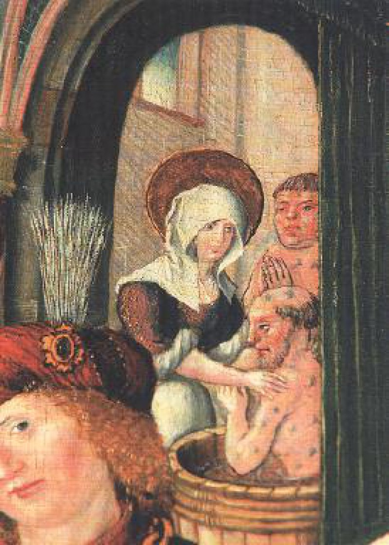 Elisabeth wäscht einen Aussätzigen (Johann von der Leyten, Elisabethaltar der Elisabethkirche Marburg, 1510)