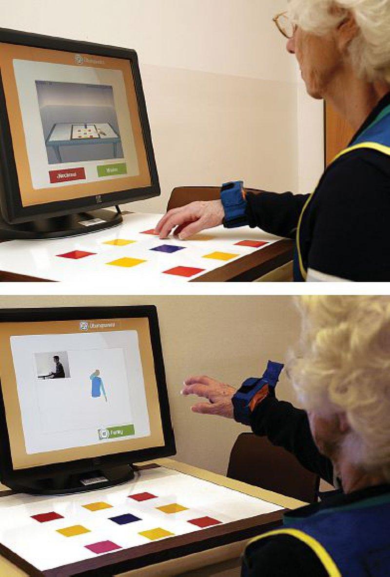 Krankengymnastik vor dem Laptop zu Hause: Zunächst zeigt eine Animation auf dem Bildschirm, wie einzelne Übungen auszuführen sind. Bewegungssensoren zeichnen anschließend die Bewegungsabläufe der Patienten auf. Fotos: Philips