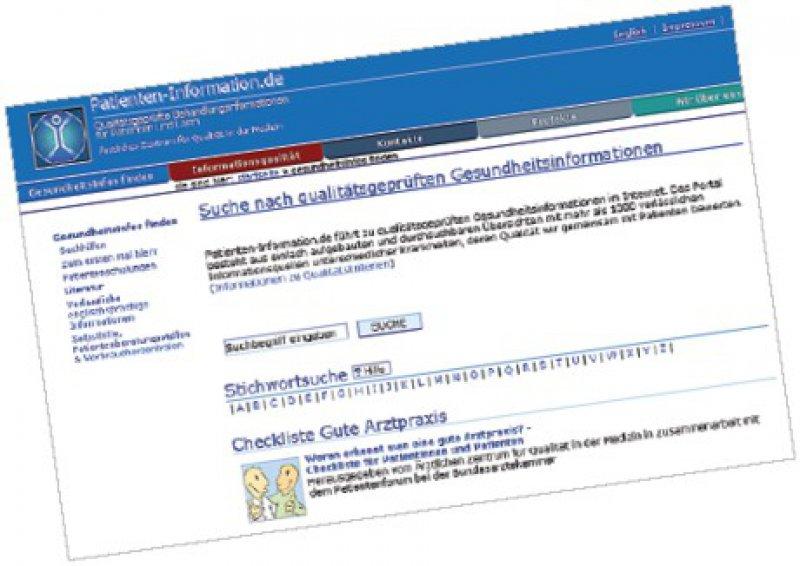 """Kein neues, aber ein ausgebautes Angebot: Unter www.patienteninformation. de erhalten Ratsuchende zum Beispiel Informationen zu einer """"guten Arztpraxis""""."""