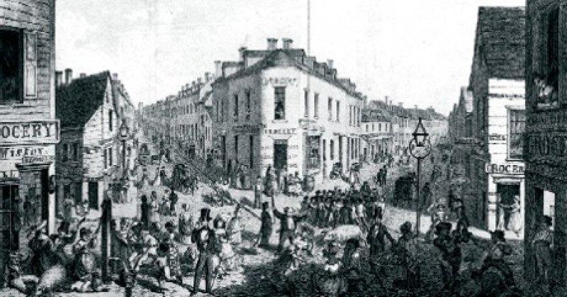 Im Gebiet der sogenannten Five Points, einem Armenviertel in New York (hier im Jahr 1827), wütete die Cholera besonders heftig. Foto: N-YHS, New York Historical Society