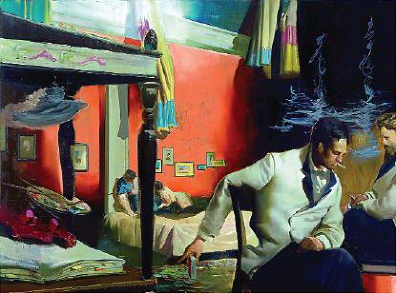 """Neo Rauch: """"Der nächste Zug"""", Öl auf Leinwand, 150 × 200 cm Foto: VG Bild-Kunst Bonn 2008"""