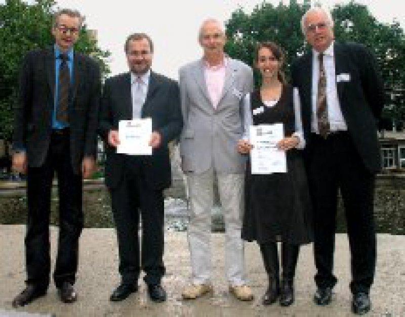 Stephan Doering, Vorsitzender der Preisjury, Peter Zorn, Jörg Weidenhammer, Geschäftsführer Asklepios Medical School, Katja Stäbler, Birger Dulz, Präsident der GePs (von links)