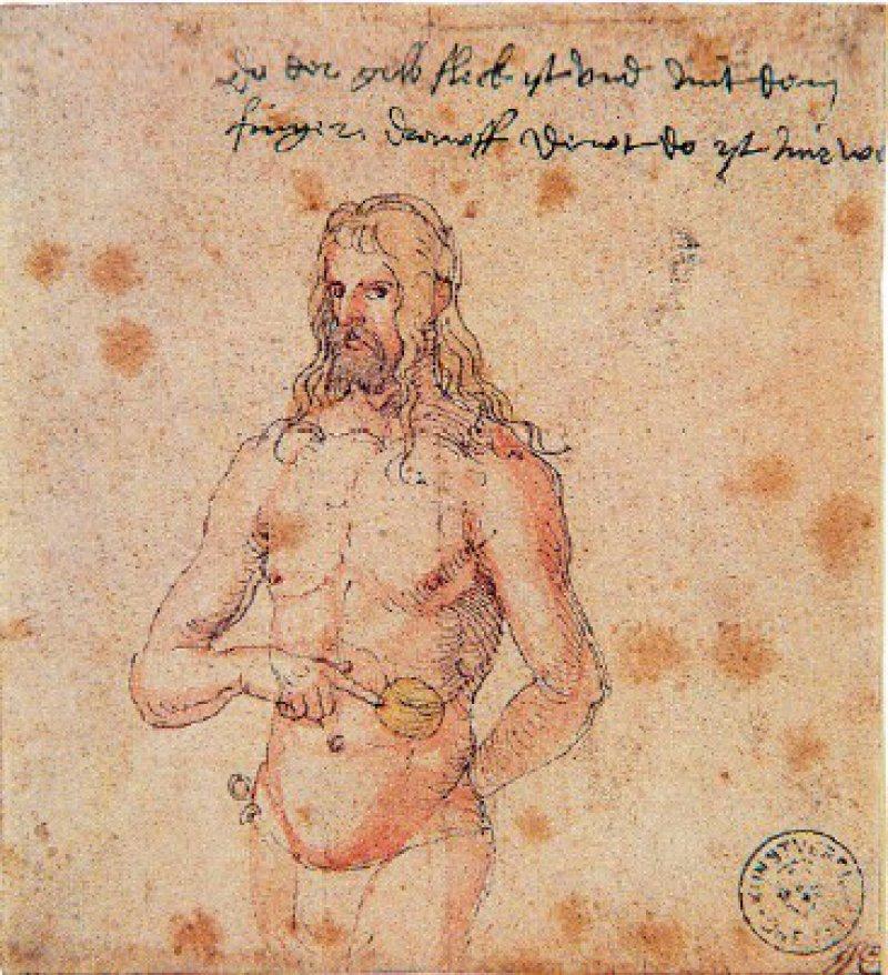 "Albrecht Dürer: ""Der kranke Dürer"" (Selbstbildnis mit gelbem Fleck), 1510, 11,8 × 10,8 cm, Bremen, Kunsthalle Abbildung: Katalog"