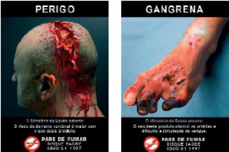 Abbildung 2: Beispiele von neuen brasilianischen Warnhinweisen (2008) Fotos: Deutsches Krebsforschungszentrum