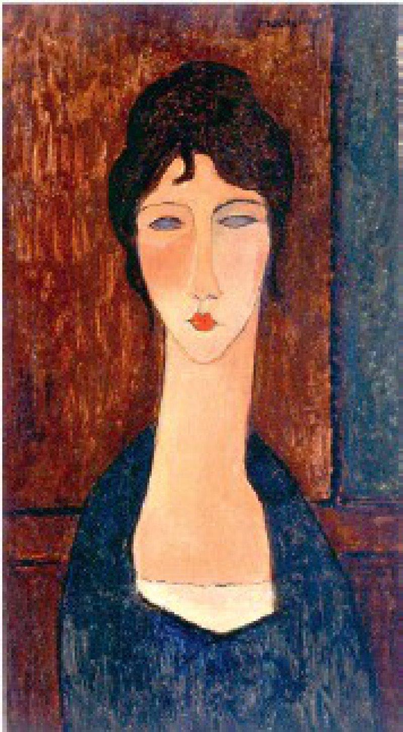 Amedeo Modigliani, Rote Karyatide, 1913, Privatsammlung Rom (links); Junge Frau mit braunem Haar (Elvira), 1918, Courtesy: Die Galerie, Frankfurt am Main