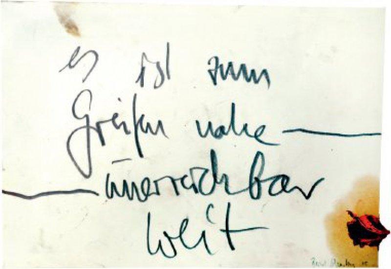 """Bernd Schwarting: """"es ist zum Greifen nahe – unerreichbar weit"""". Bleistift und Ölfarbe auf Papier, circa 21 × 30,5 cm, signiert und datiert (20)05.Foto: Eberhard Hahne"""