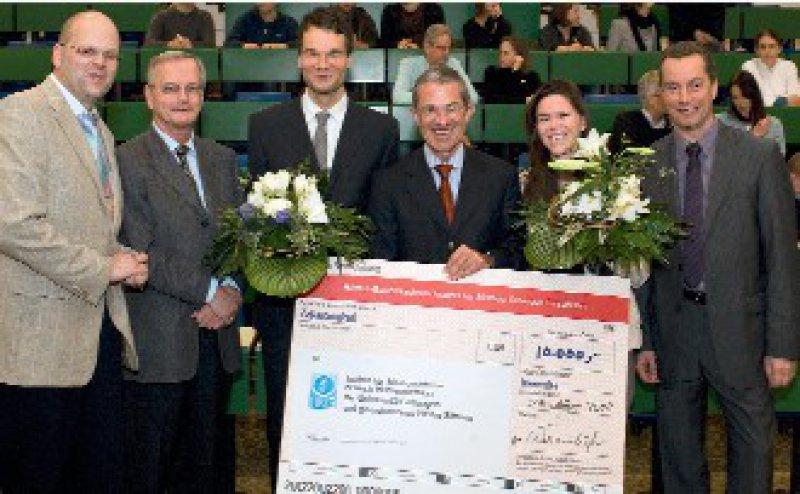 Wolfgang Brück, Hartmut Wekerle, Manuel Friese, Colin Wernsdörfer, Assunta Dal-Bianco, Stefan Hilbers (von links) Foto: Biogen Idec Gmbh