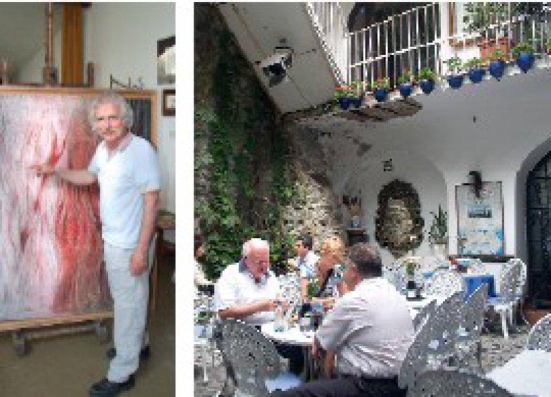 """Künstlerkolonie Szentendre: Orte wie das Café """"Nosztalgia"""" (rechts) und die """"Kunstmühle"""" mit ihren Galerien, in denen Maler wie Imre Szakasz (links) ihre Werke ausstellen, prägen den Charme des Städtchens. Fotos: Bernd Schiller"""
